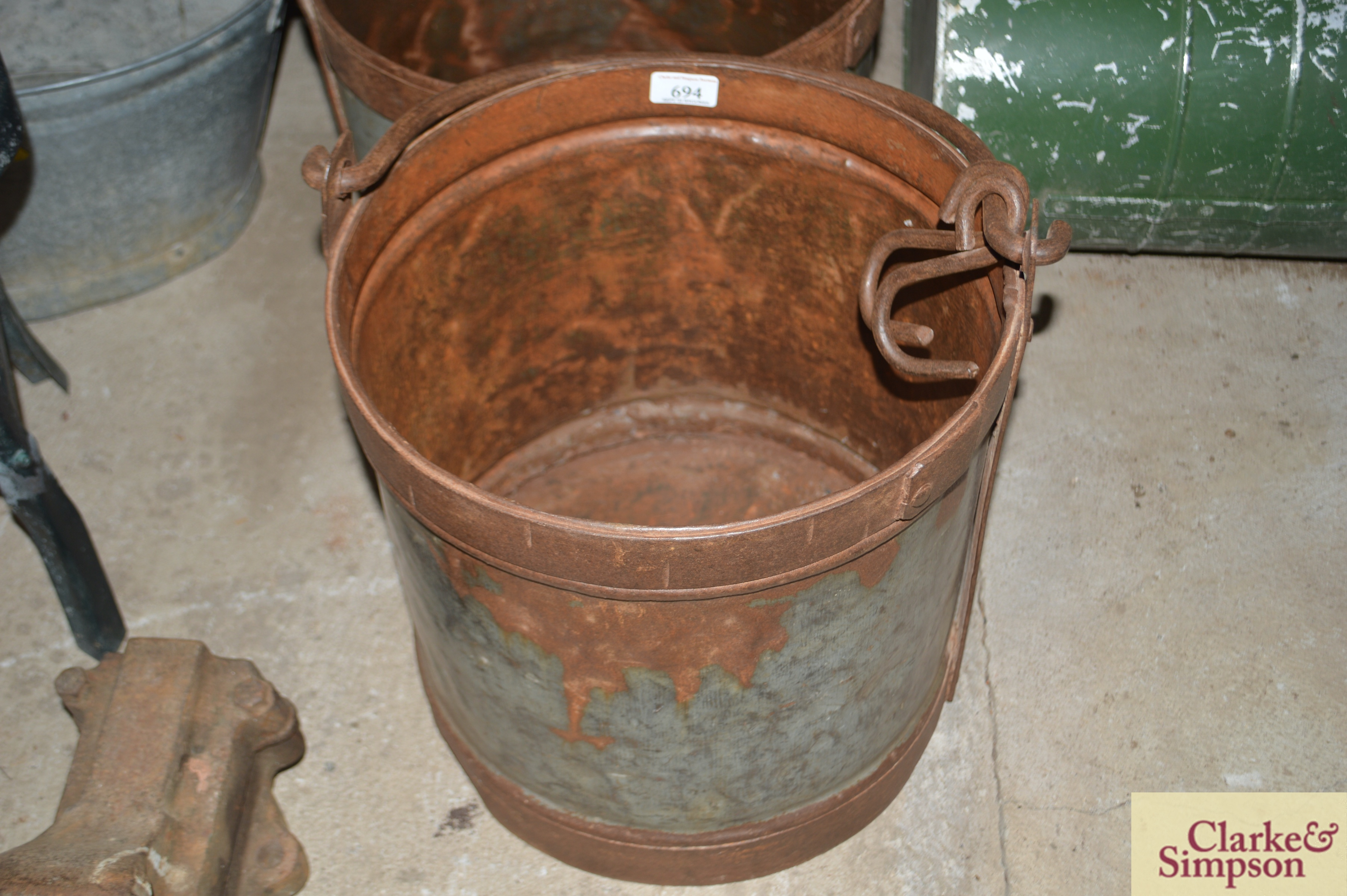 Three graduated galvanised and iron pails with swi - Image 4 of 7