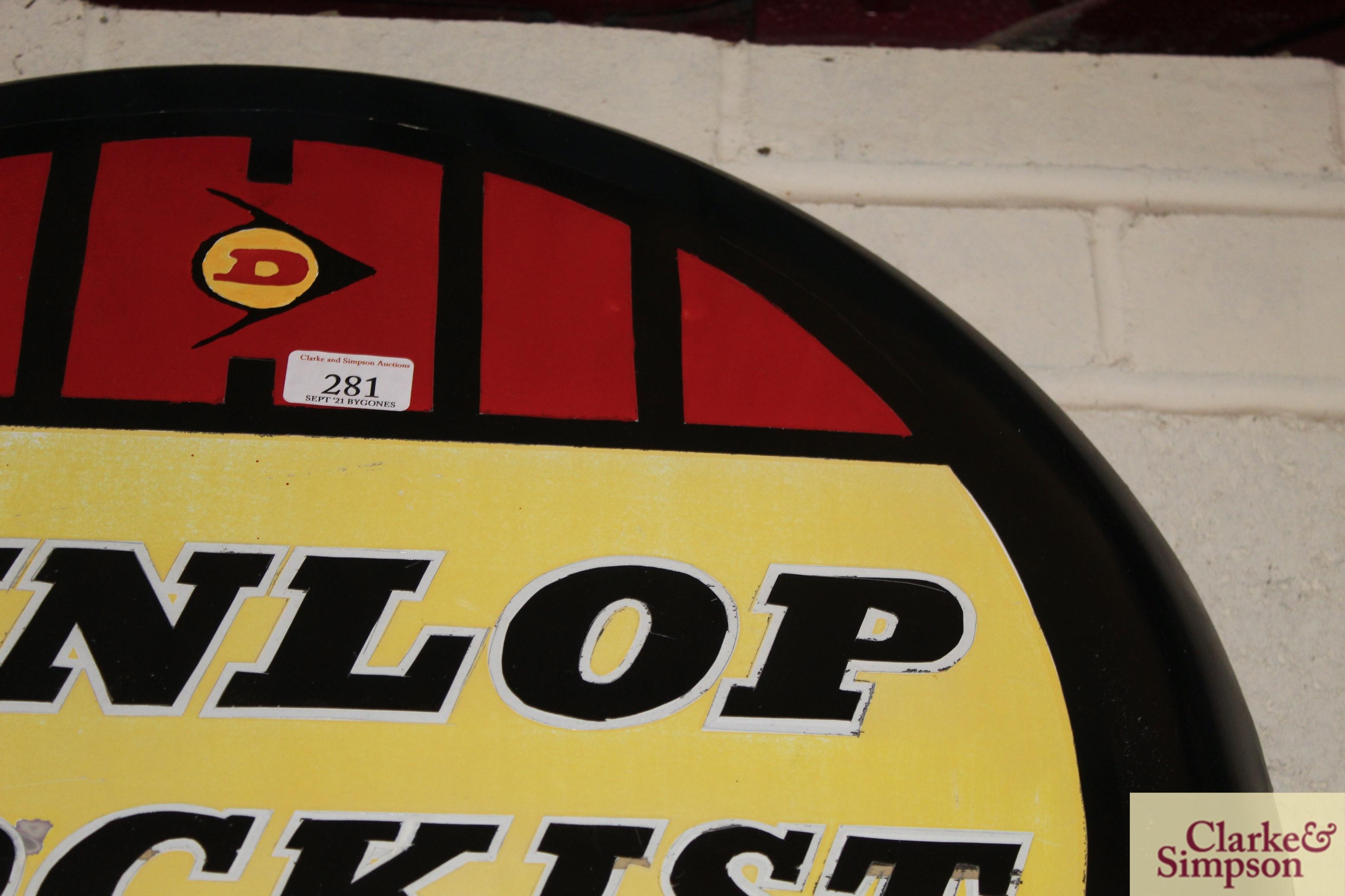 "A circular metal ""Dunlop Stockist"" advertising sign, approx. 24"" dia. - Image 3 of 5"