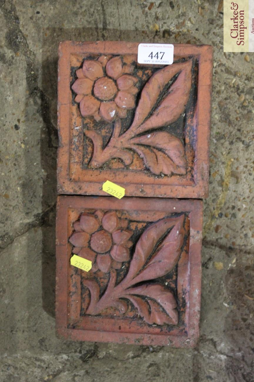 Two terracotta flower decorated bricks - Image 3 of 3