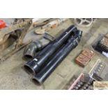 Three black enamel chimney pipe pieces
