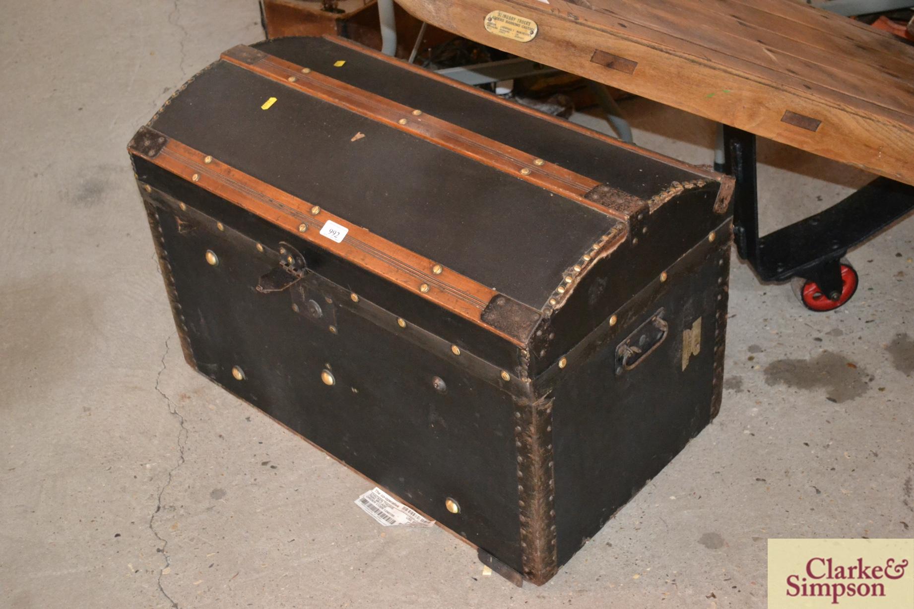 A vintage domed battened trunk