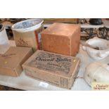 Two vintage cardboard boxes for Aplin & Barrett We