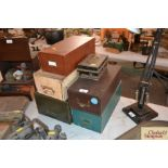 Five various vintage index card filing boxes and a