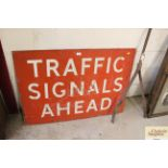"""A metal traffic """"Signals Ahead"""" warning sign, approx. 30"""""""