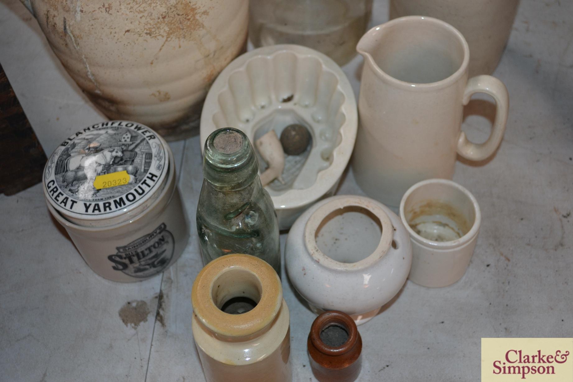 A white stone glazed bottle, a white china jelly m - Image 2 of 4