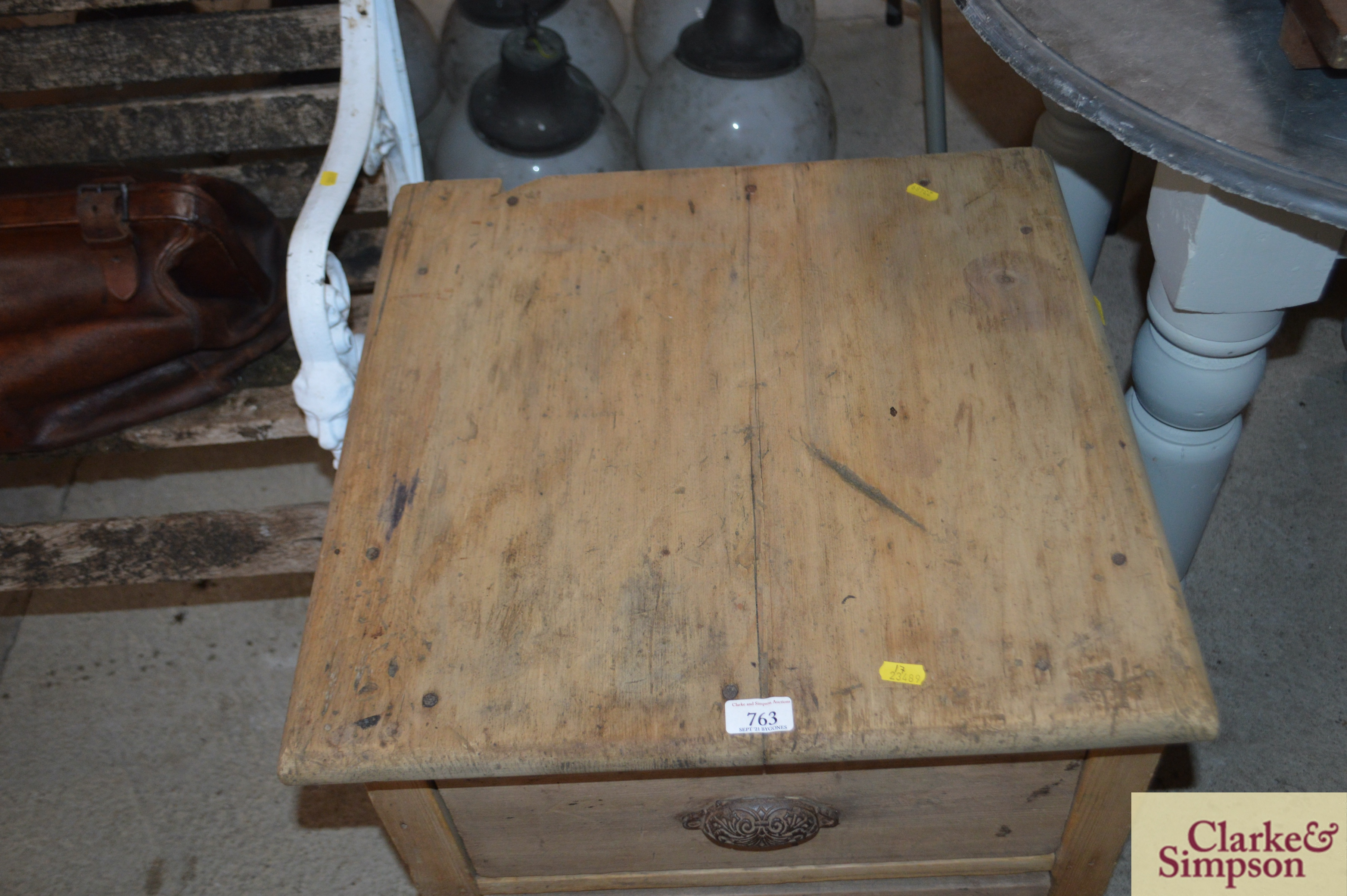 An antique stripped pine ironmongers two drawer ca - Image 4 of 4