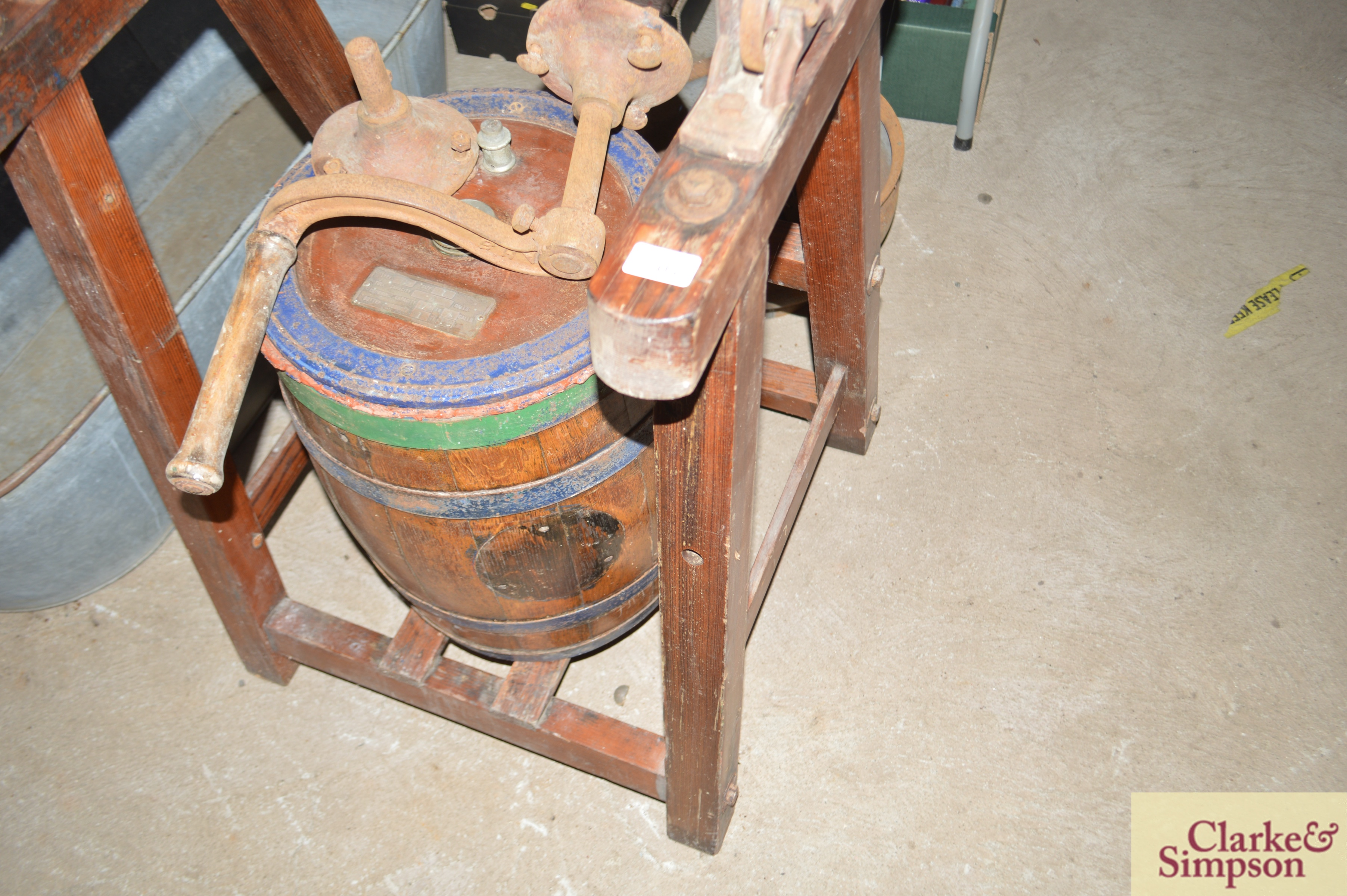 An old butter churn with stand and cream separator - Image 12 of 13