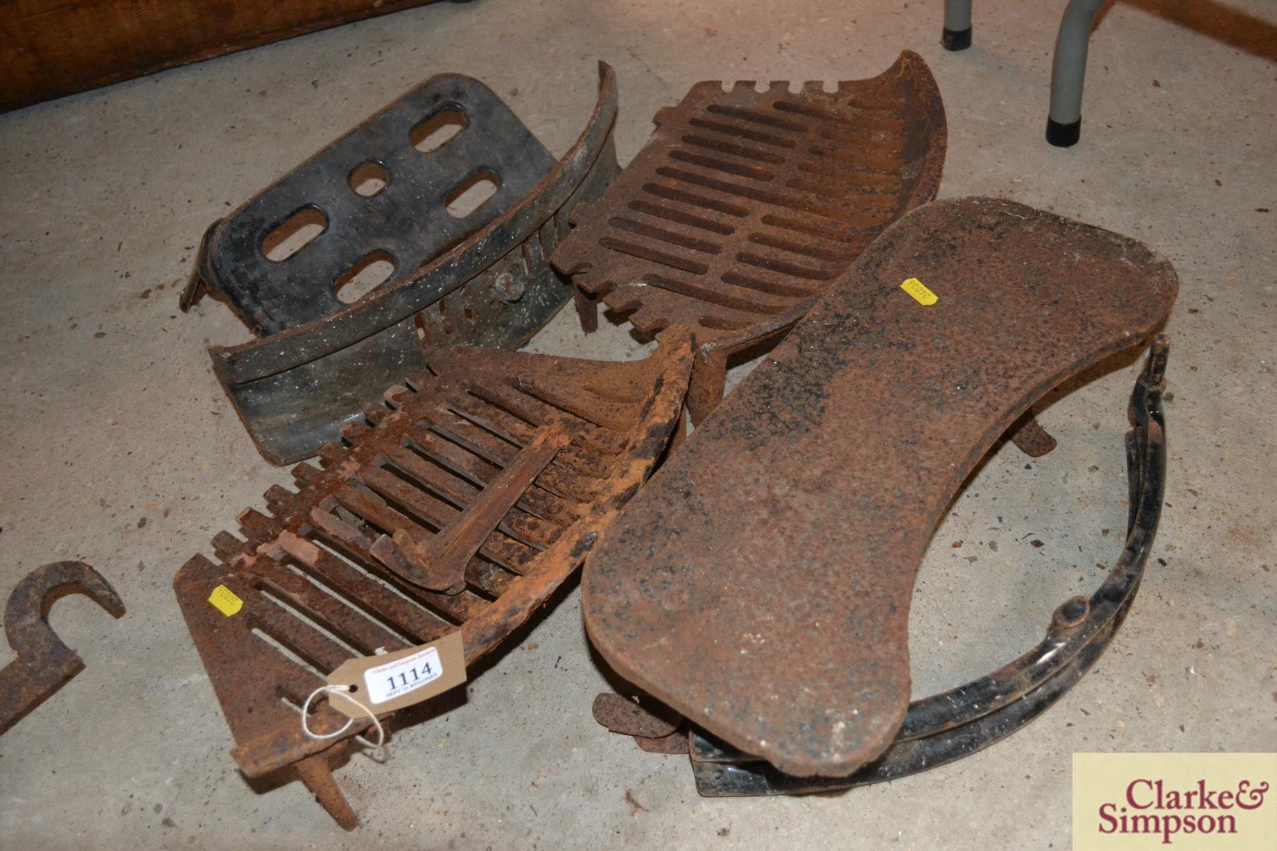 Various cast iron fireplace items