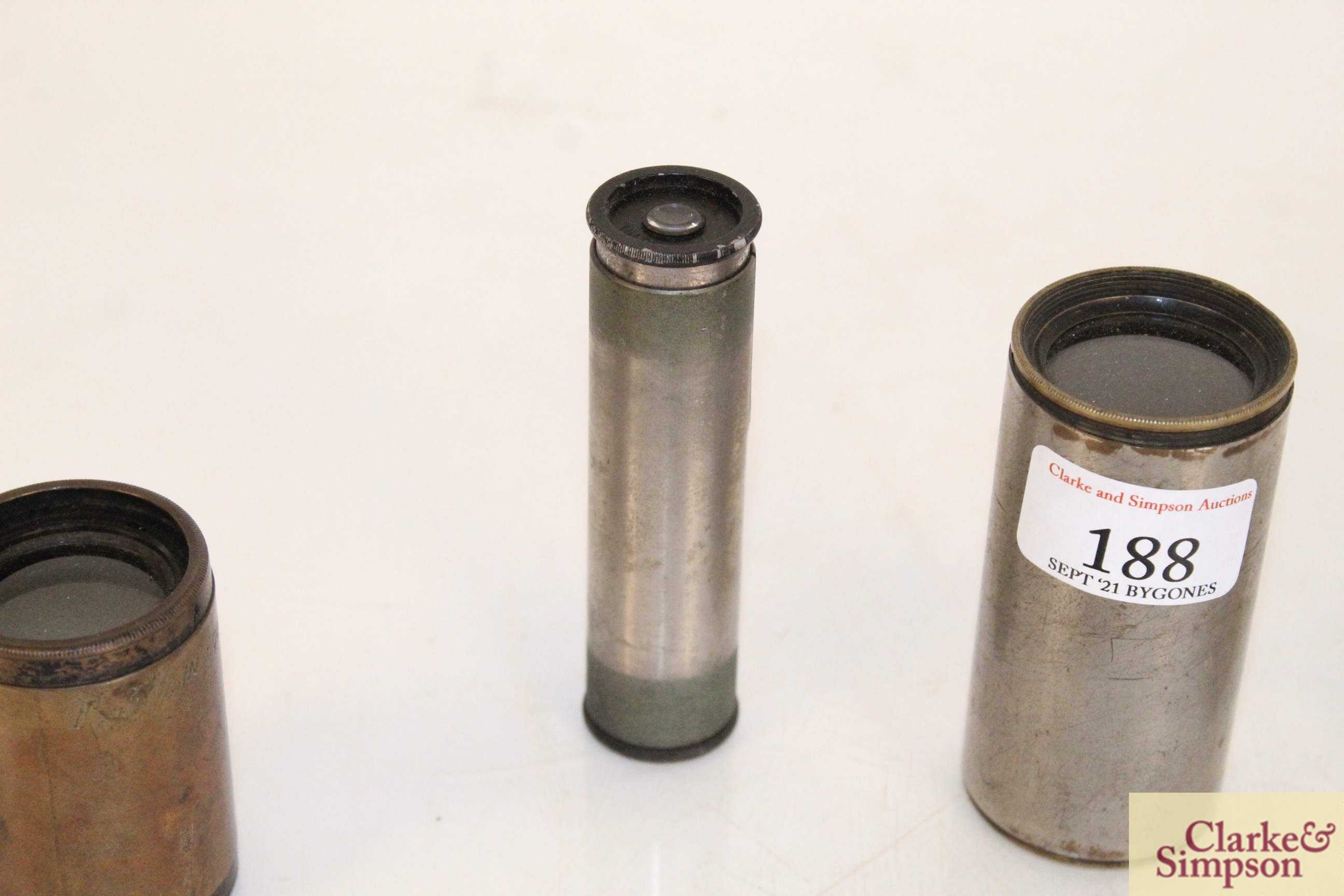 A brass cased magnifier on stand by Dunscombe of B - Image 3 of 9