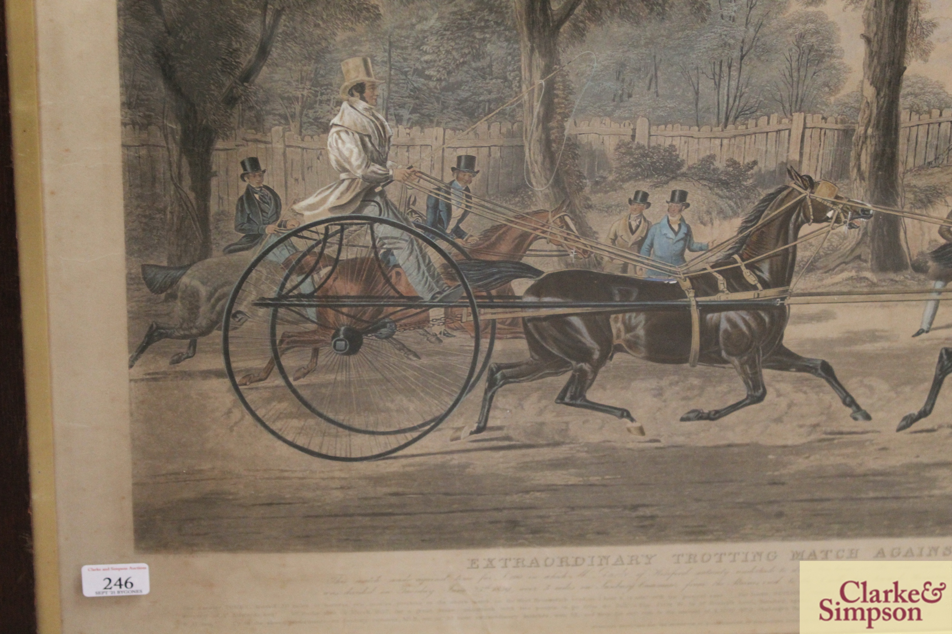"""A 19th Century lithograph """"Extraordinary Trotting - Image 6 of 6"""