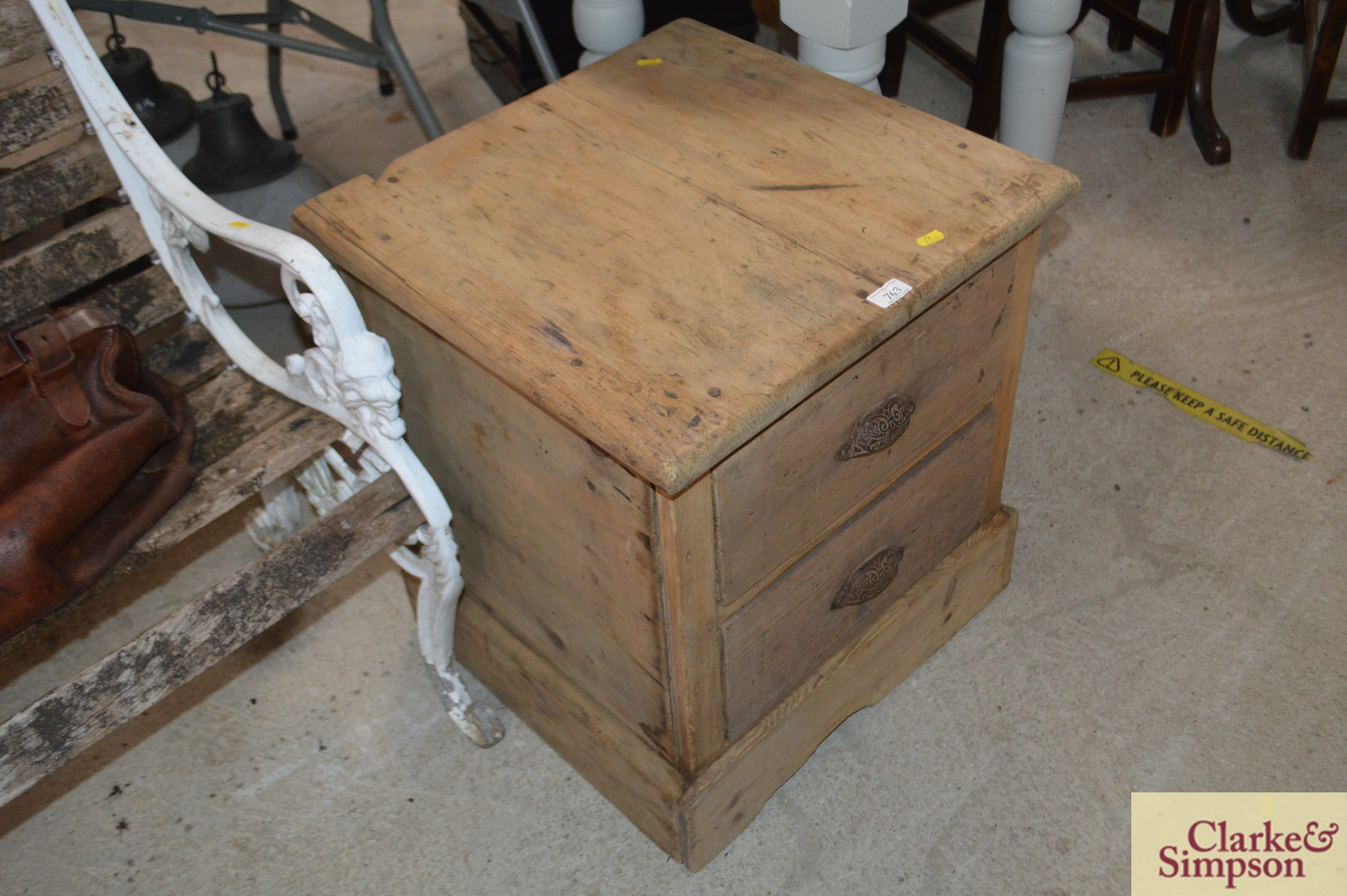 An antique stripped pine ironmongers two drawer ca - Image 2 of 4