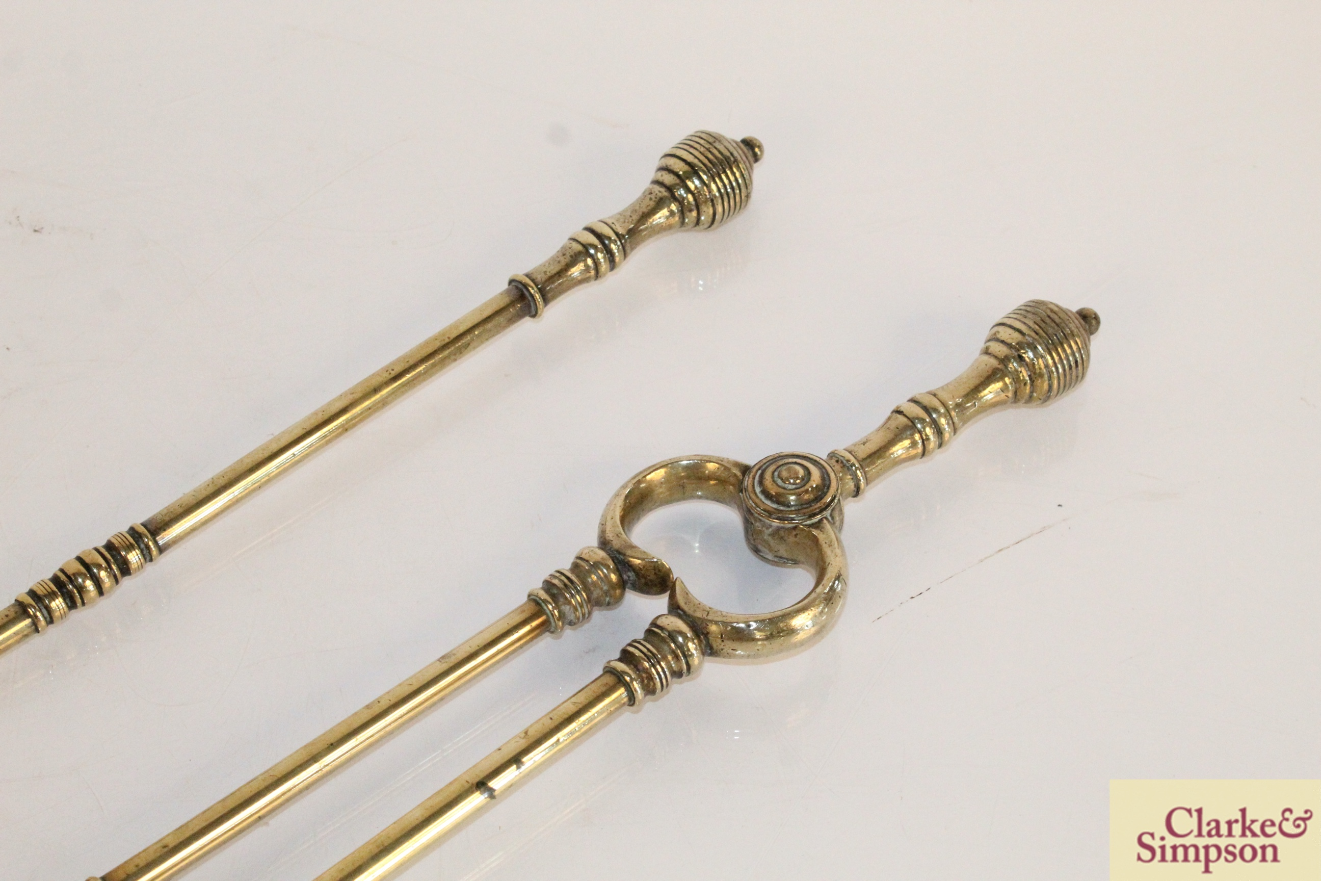 A pair of brass fire implements and a brass and c - Image 6 of 6