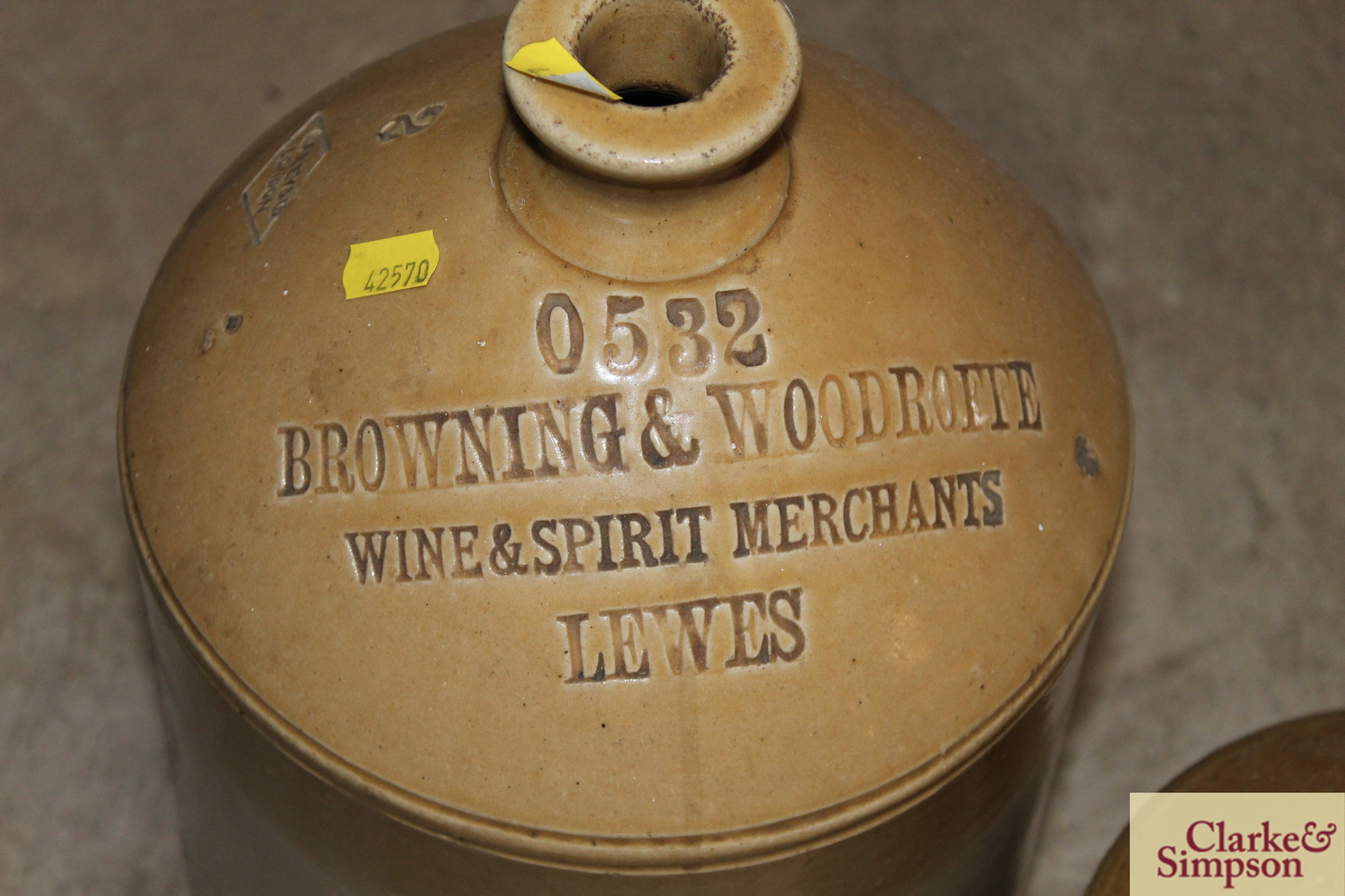 A stone glazed flagon for Browning and Woodrotte - Image 3 of 4