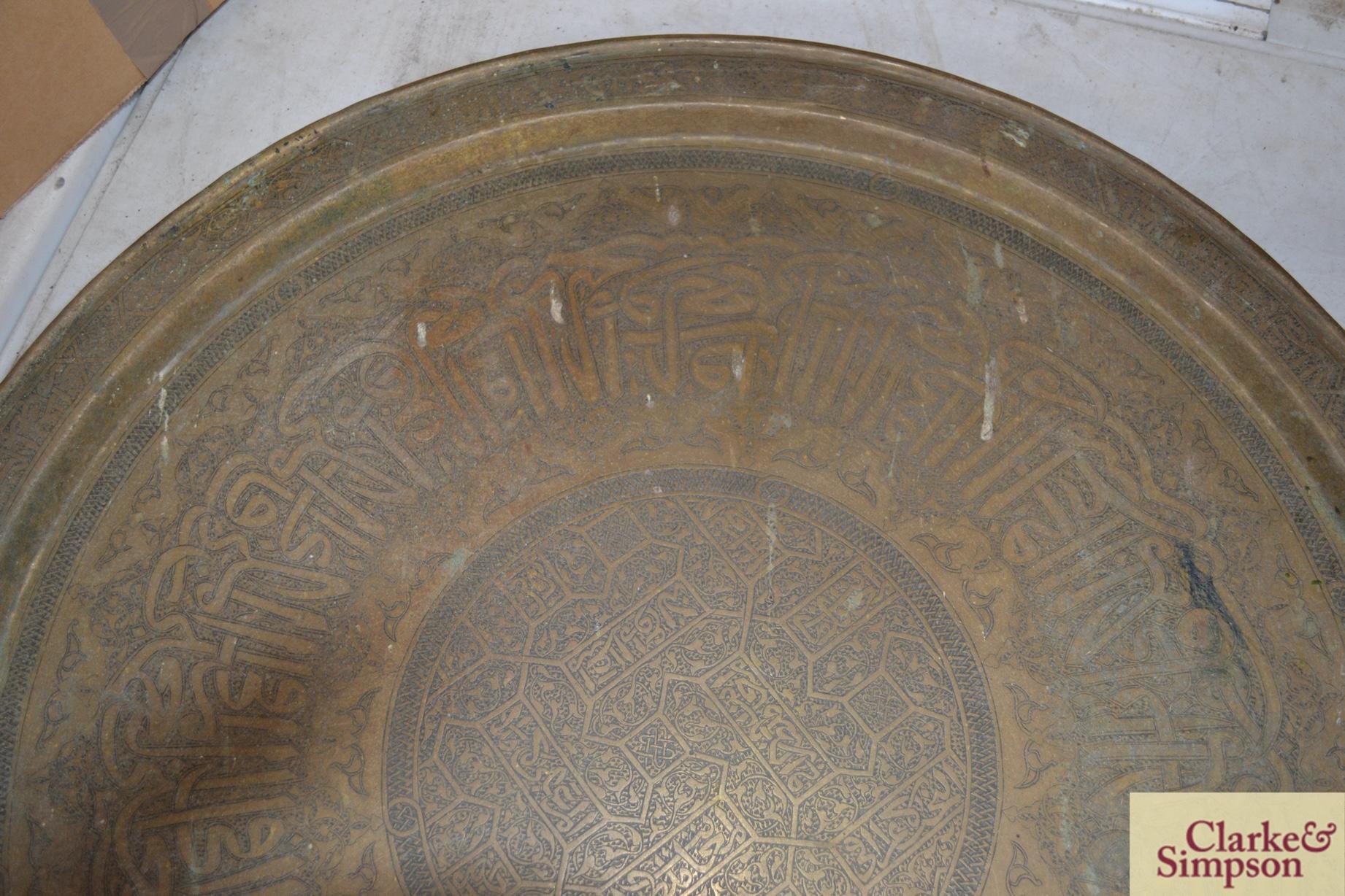 An Eastern circular brass tray - Image 2 of 3