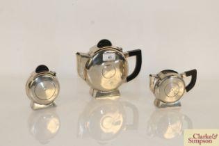 An Art Deco plated three piece tea set