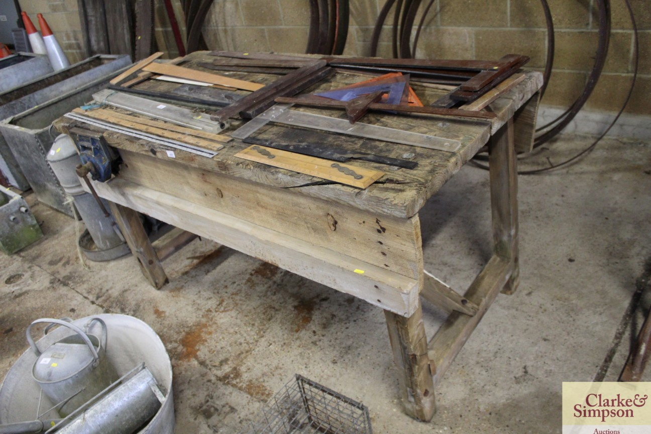 A vintage wooden work bench complete with Record v - Image 4 of 5