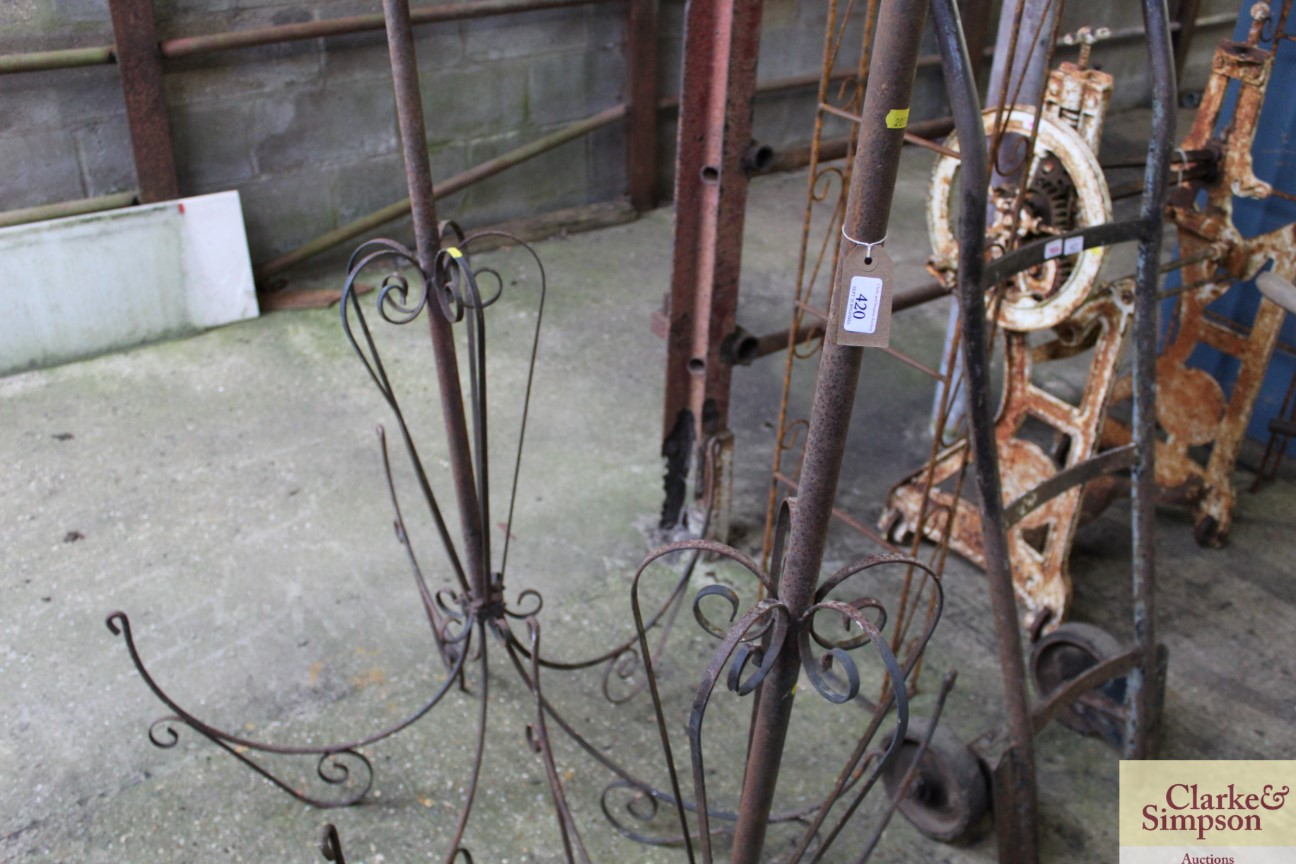 Two vintage wrought metal hanging basket stands - Image 4 of 5