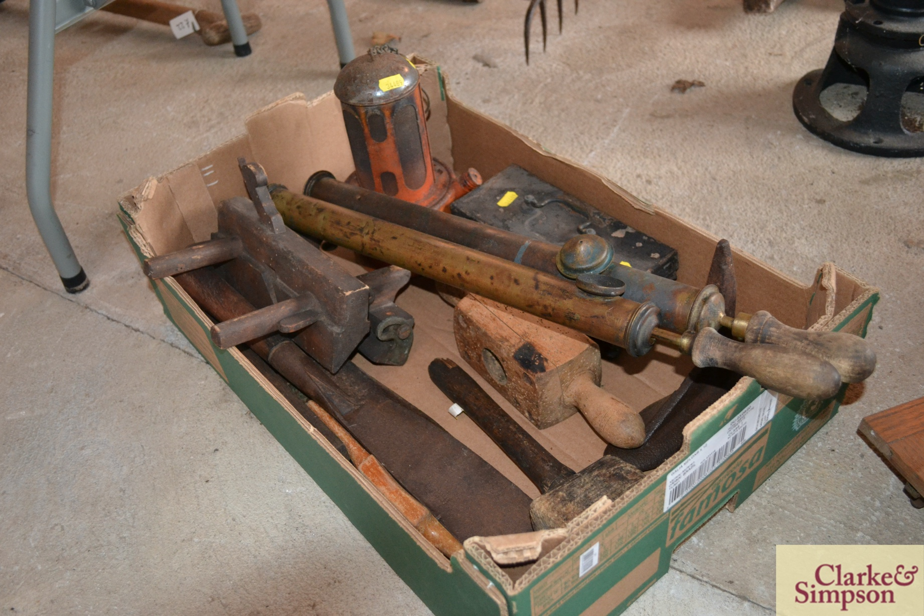 Two vintage brass garden sprayers, a cast iron last, - Image 2 of 3