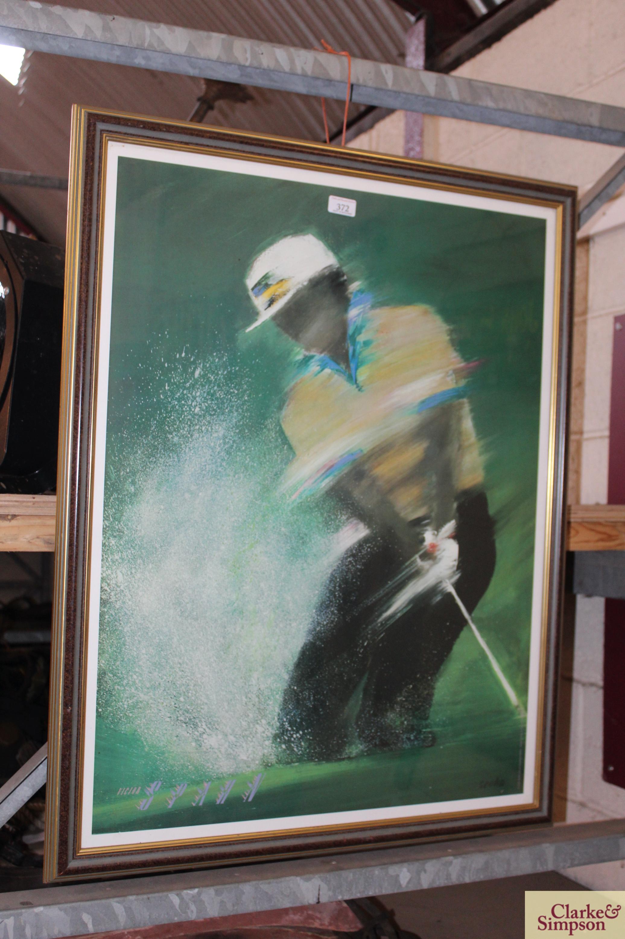 A Lee Travino framed golfing print