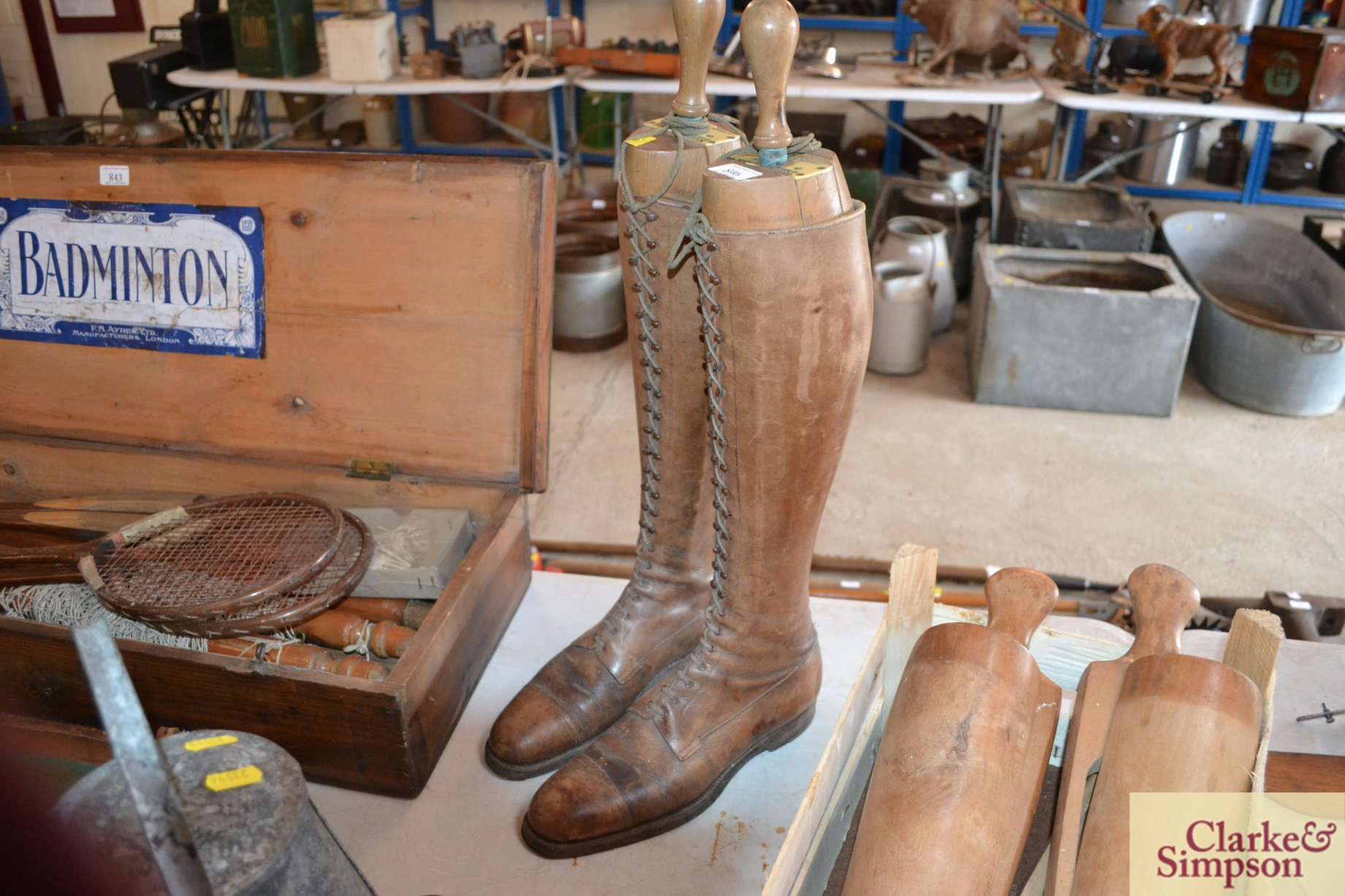 A pair of early 20th Century vintage leather boots - Image 2 of 6
