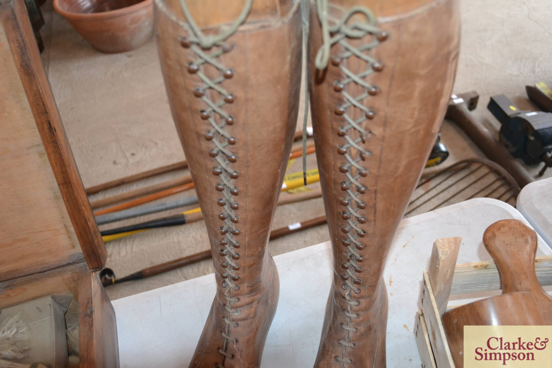A pair of early 20th Century vintage leather boots - Image 6 of 6