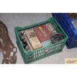 A box of various horse medicines, a hoof etc.