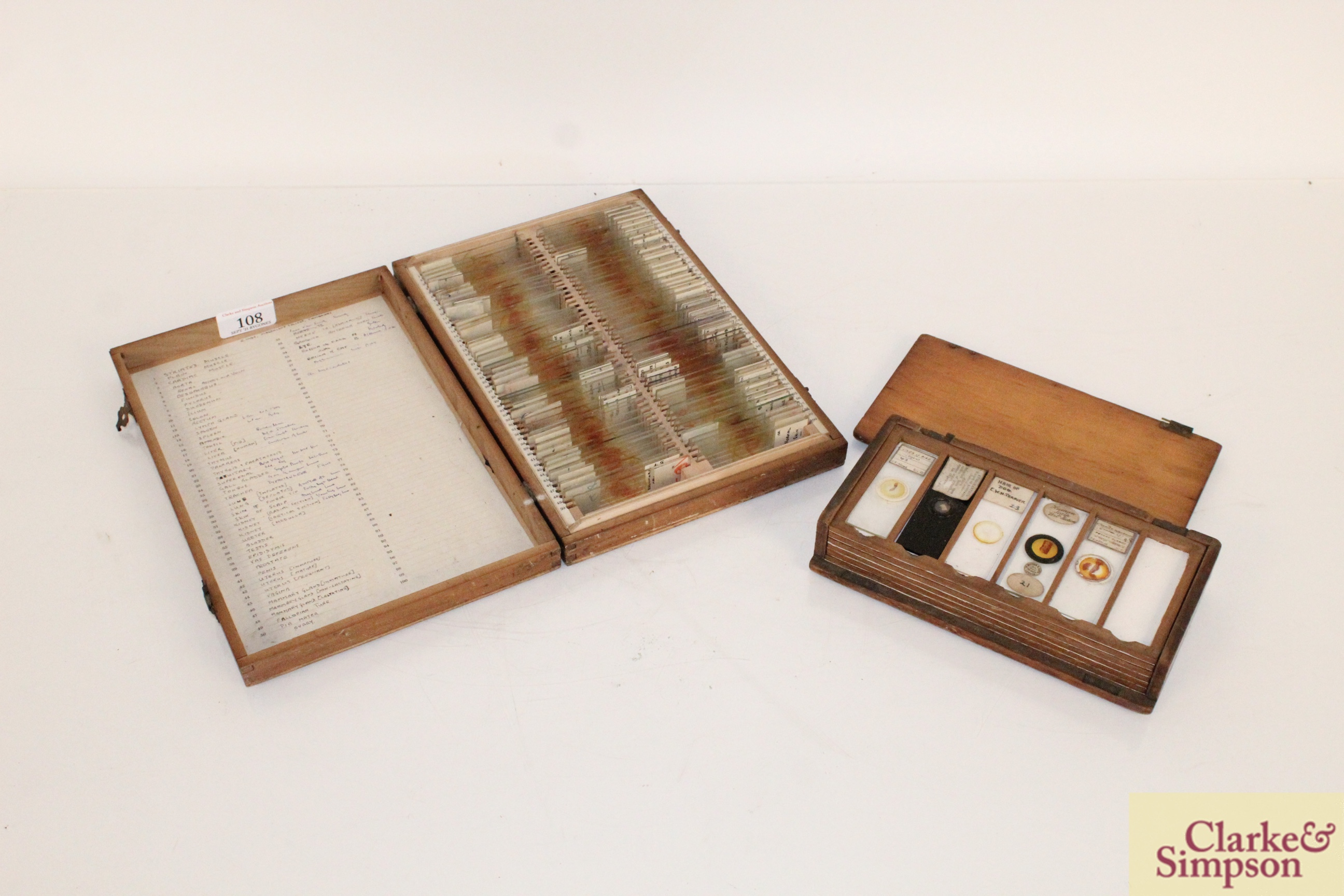 Three boxes of medical slides