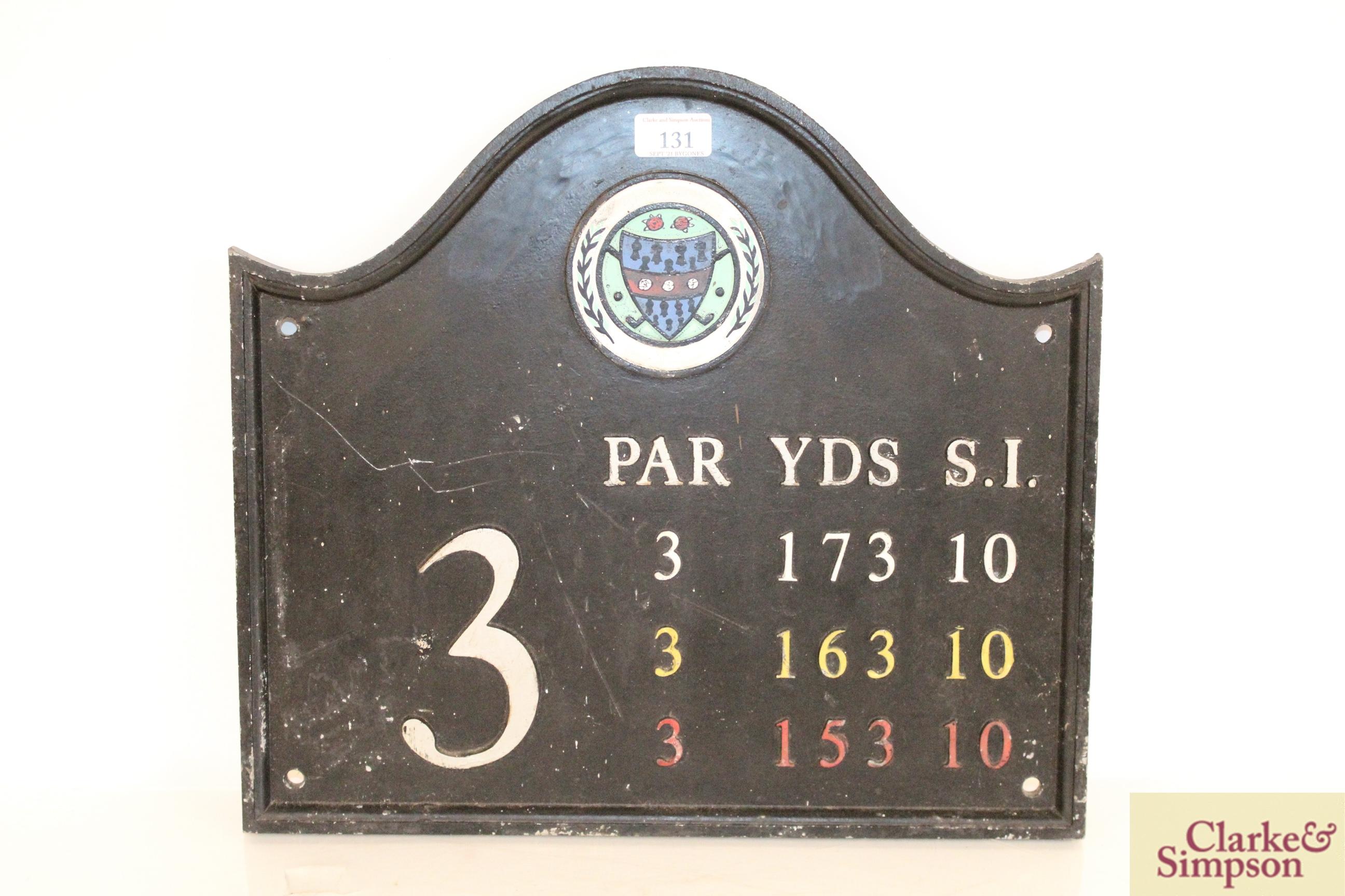 "A cast iron ""Golf Club"" sign, approx. 15½"" x 17"" i"