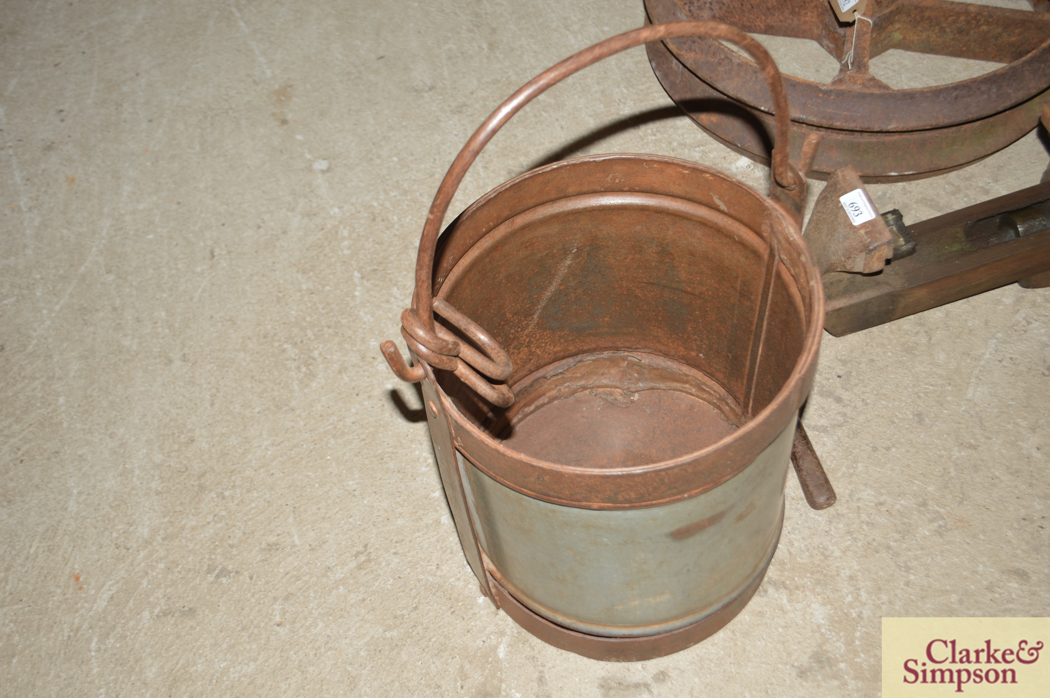 Three graduated galvanised and iron pails with swi - Image 3 of 7