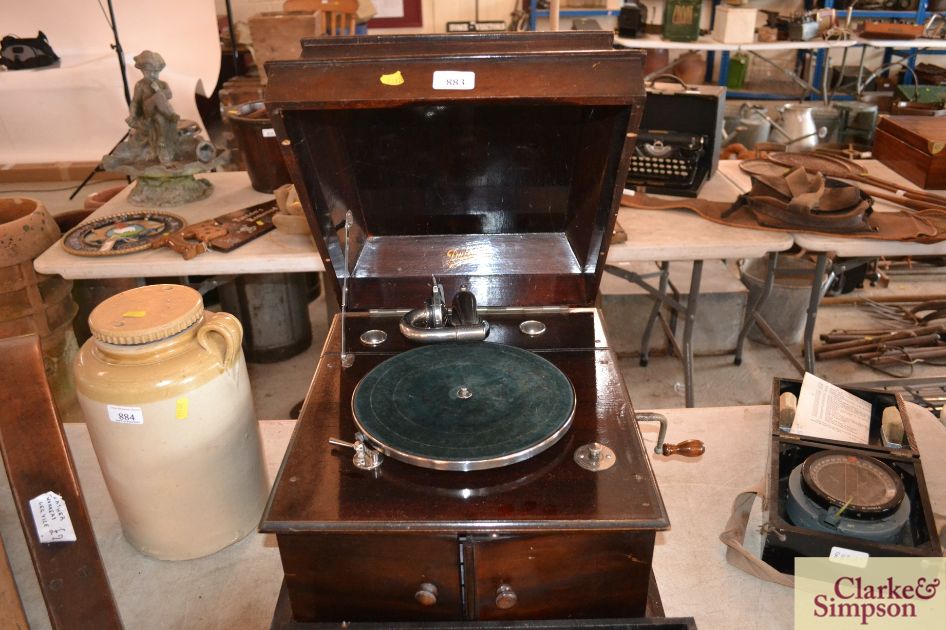 A Dulcetto table model gramophone and ten 78rpm re - Image 3 of 8