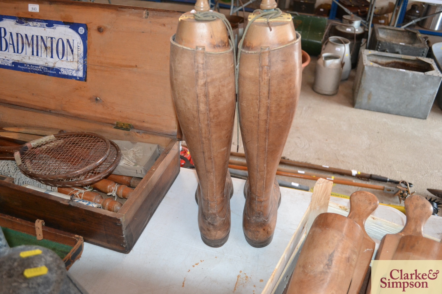 A pair of early 20th Century vintage leather boots - Image 3 of 6