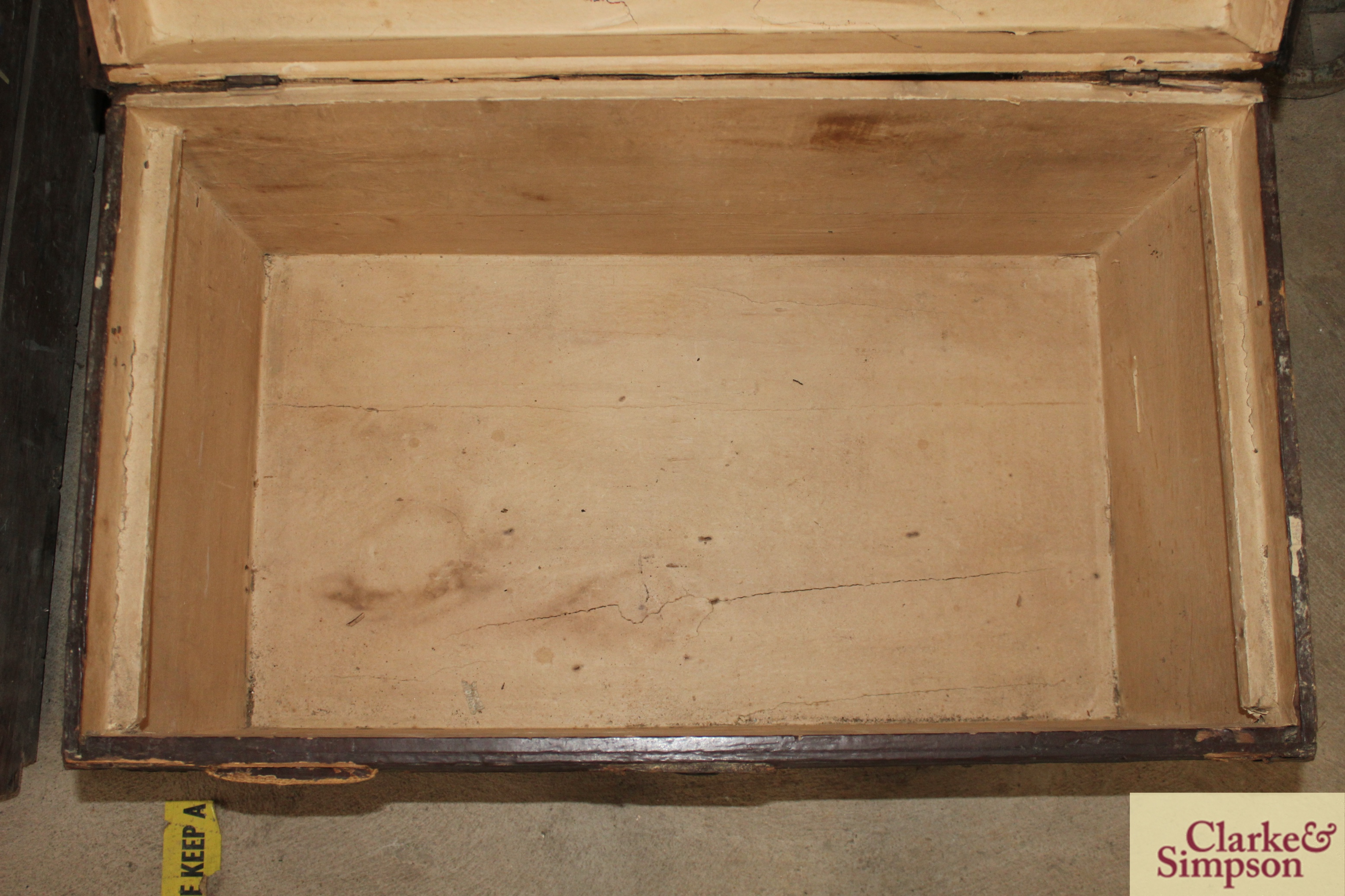 A vintage wooden trunk with metal mounts and carry - Image 4 of 4