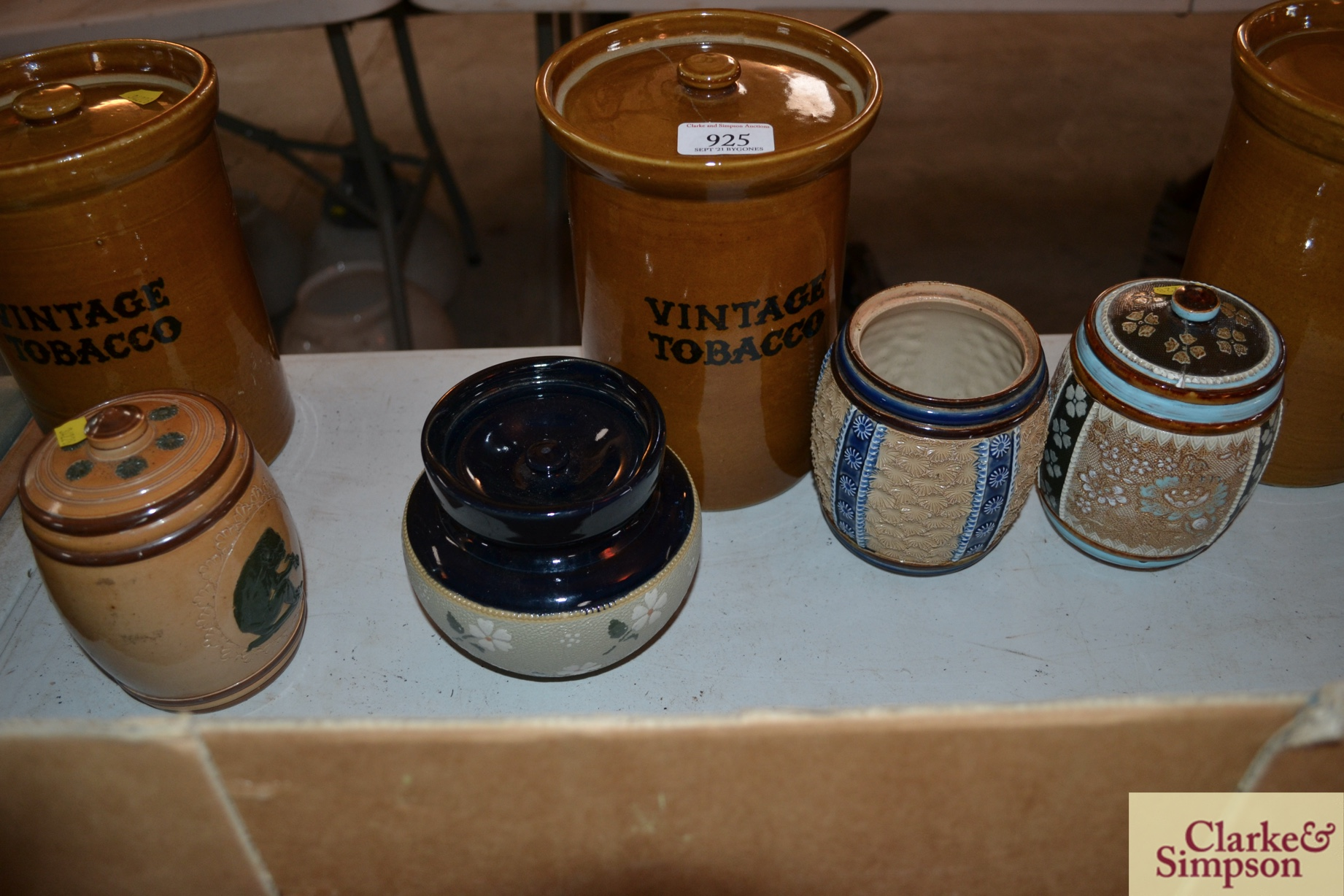 Three Doulton Lambethware tobacco jars AF and one - Image 3 of 3