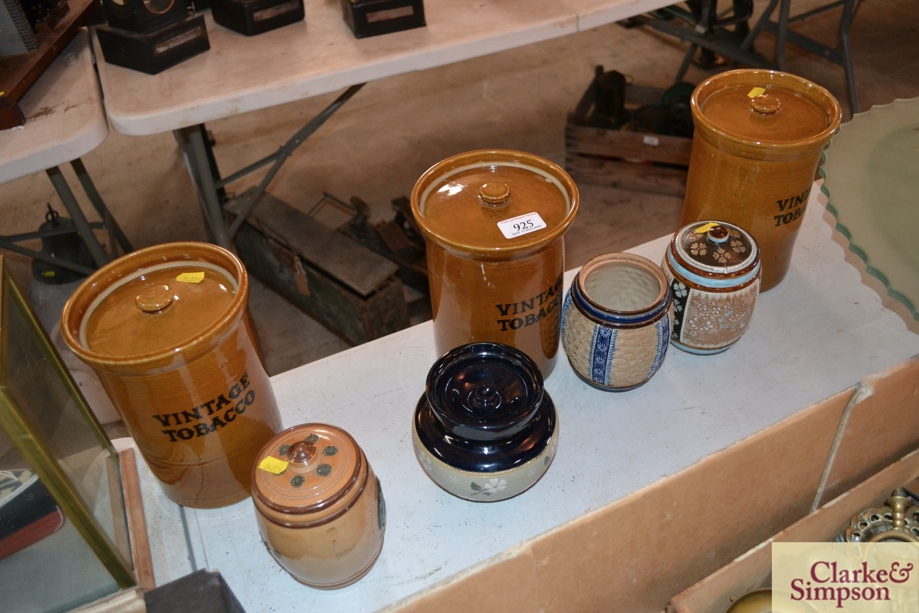 Three Doulton Lambethware tobacco jars AF and one - Image 2 of 3