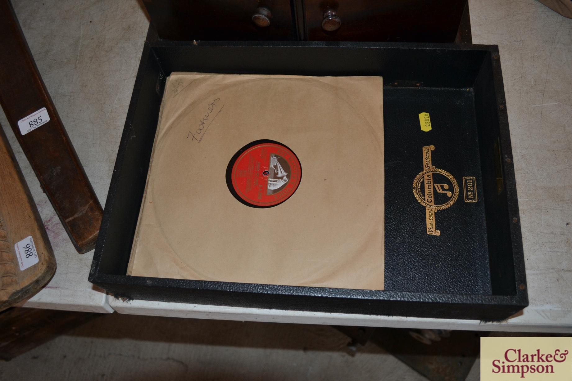 A Dulcetto table model gramophone and ten 78rpm re - Image 2 of 8