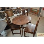 An antique elm tripod table and three country Chi
