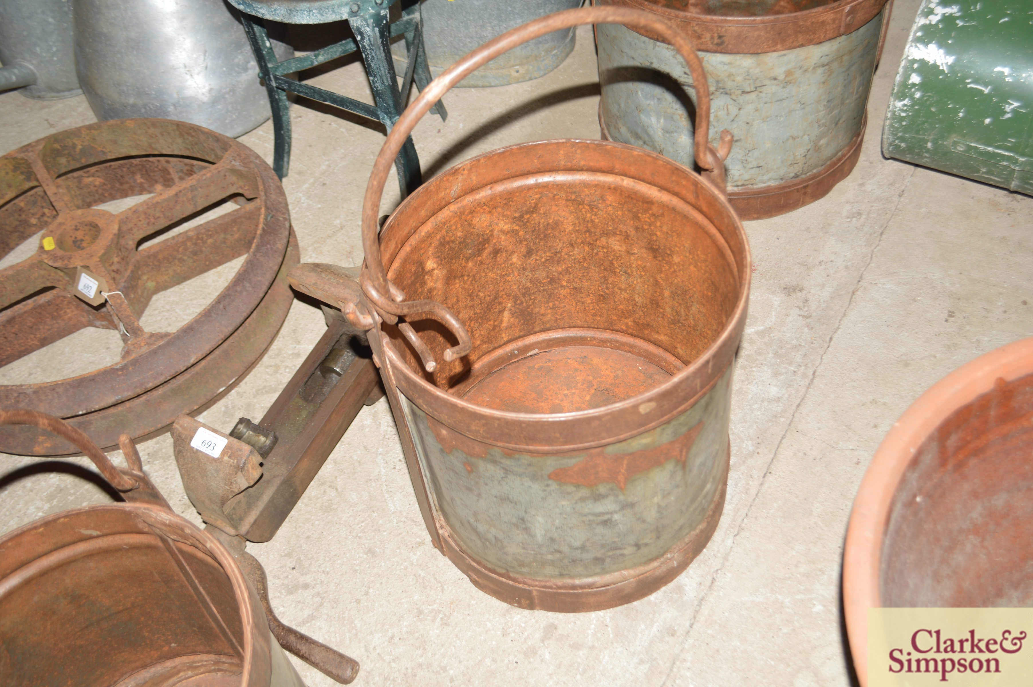 Three graduated galvanised and iron pails with swi - Image 5 of 7