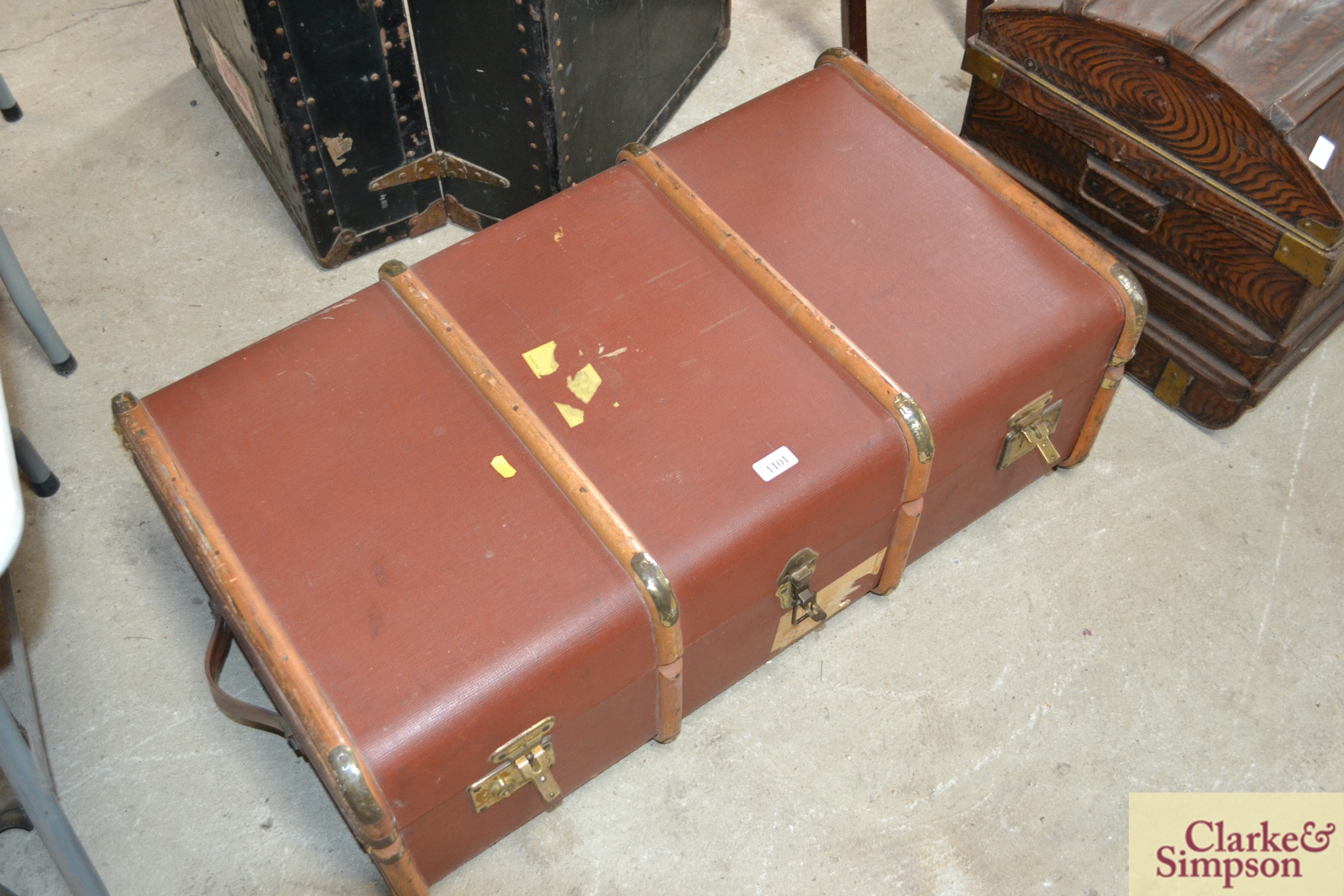 A wooden bound steamer trunk - Image 2 of 2