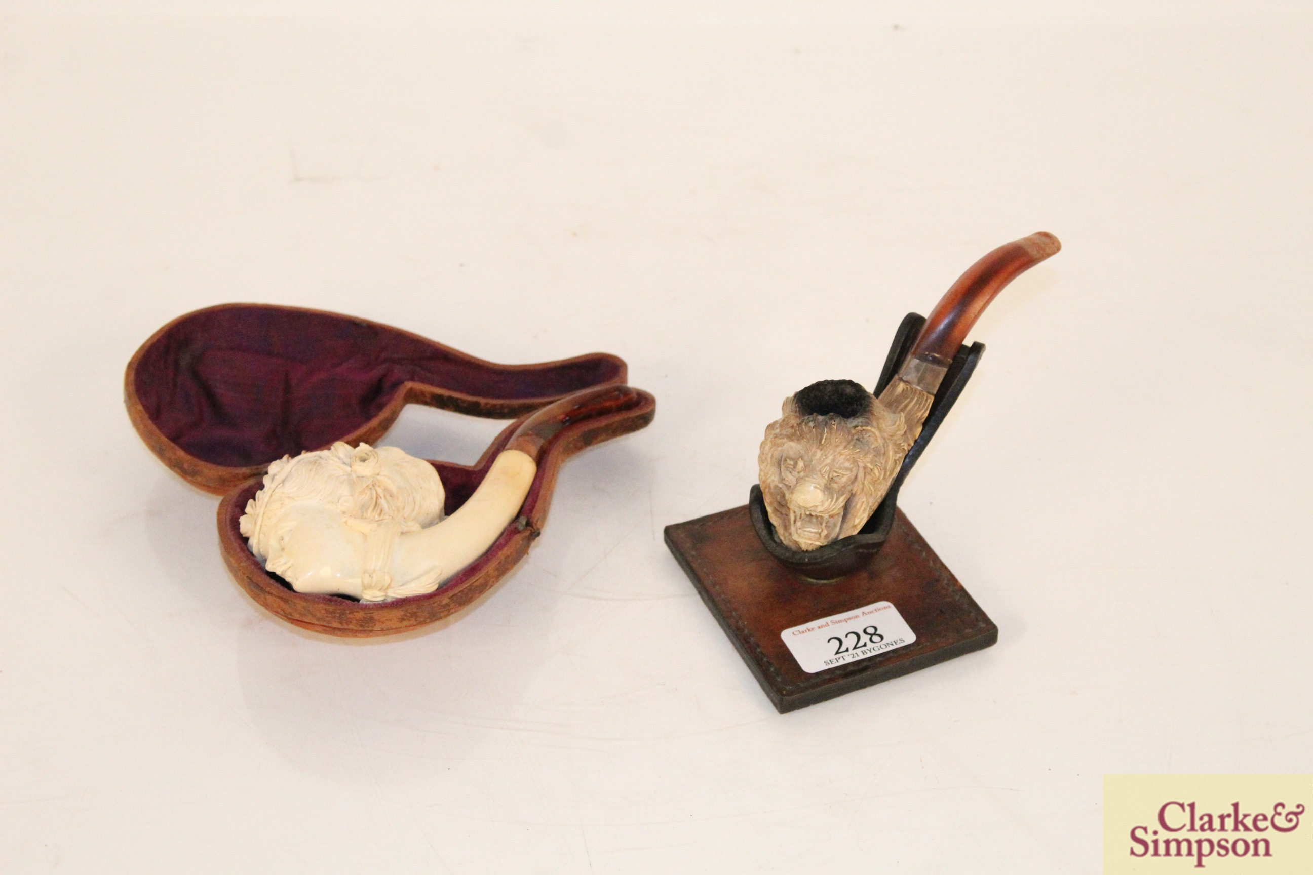 A vintage Meerschaum pipe, the bowl in the form of