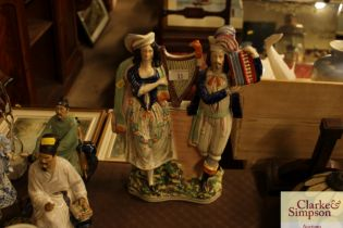 A Victorian Staffordshire flat back group of music
