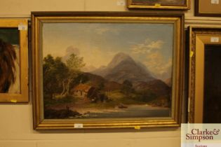 19th Century school study of figures by a lake wit