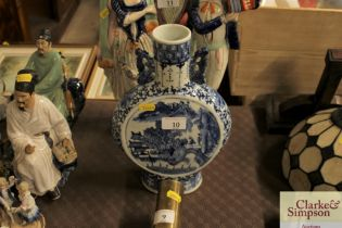 A Chinese blue and white moon flask with fou