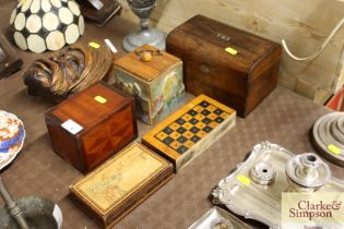 A Victorian two compartment tea cady and various o