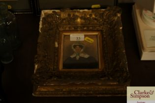 A Victorian portrait miniature, 'Mrs Edge' in gilt