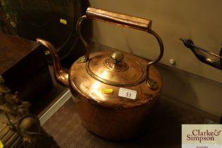 An antique copper kettle