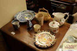 An antique Chinese octagonal plate; an English por