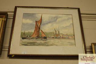 J.G. Kemp-Luck watercolour study of 'Pin Mill'