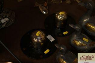 Two vintage Morris Oxford hub caps