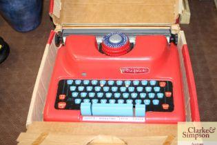 A 'Mettoy' type child's typewriter in original box