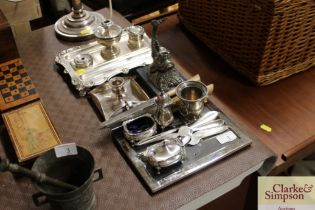A plated desk stand, plated chamber stick and vari
